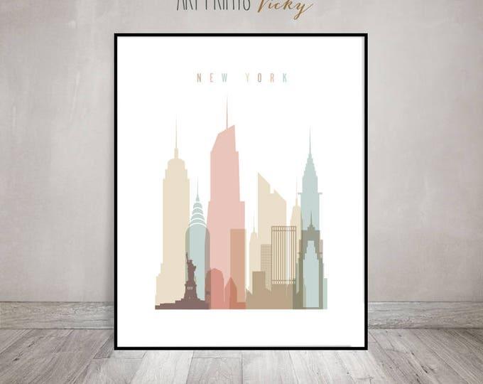 New York wall art, New York art print, Travel poster,  New York skyline, travel gift, Wall decor, Home Decor, ArtPrintsVicky