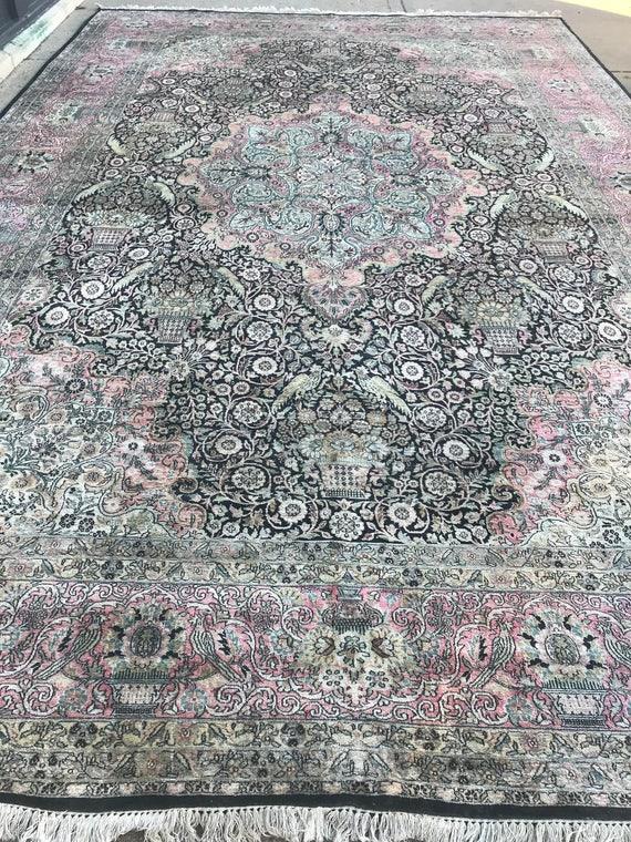 "11'8"" x 18'2"" Kashmir Oriental Rug - 1970s - Full Pile - Hand Made - 100% Silk"