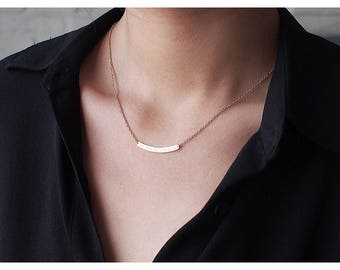 Curved Bar Coordinates Necklace / Personalized Gift for her / 18K Gold Filled , Rose Filled, Sterling Silver Necklace - CN03