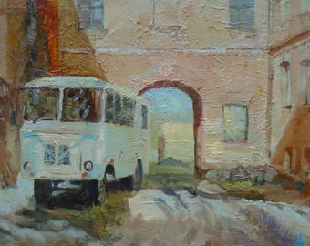 Original Art ORIGINAL Oil Painting by Ukrainian artist Telichuk A., Signed, Bus, Courtyard, Handmade Artwork, One of a Kind
