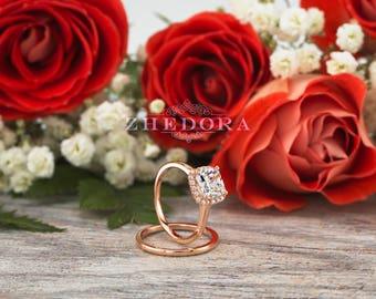 Rose Gold Cushion Engagement Set 14k 18K Simple Bridal