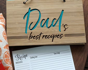 Dad's Best Recipe book, Gourmet Father's hostess gift blank or preprinted recipe cards, Father's day present,