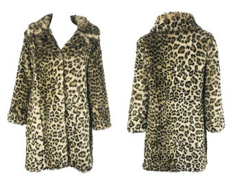 Vintage Leopard Print Coat 1990's Faux Fur Long Line Jacket Retro 1960s Pixie Collar Animal Cheetah Cat Print