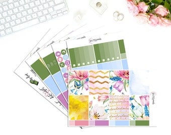 Fresh Floral || FULL Weekly Kit || Stickers for use with the Erin Condren Life Planner