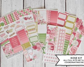 Rosé Fiesta Weekly Vertical Planner Stickers Kit 30L