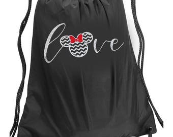 FREE SHIPPING!!! Disney LOVE Minnie Mouse Bag, Disney Drawstring Bag, Minnie Mouse Backpack, Disney Bag, Minnie Mouse Bag