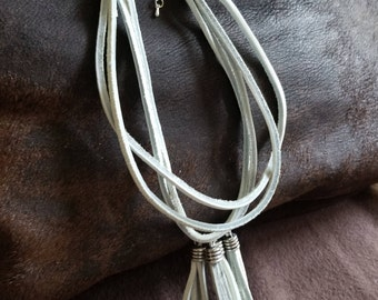 4 Strand White Leather Tassel Necklace