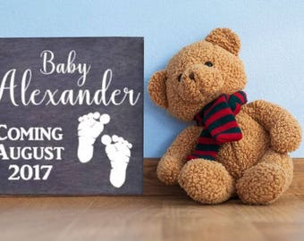 Any Name Baby Announcement, Maternity Photo Prop. Solid wood, Hand Painted - Baby Coming Sign with Personalized Last Name and Due Date
