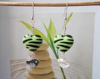 clouded green Zebra heart earrings