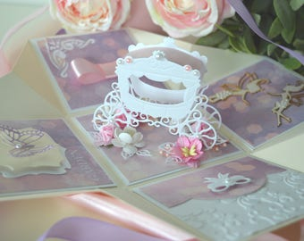 Princess explosion box card, Explosion box for girl, Girly exploding box card, Girly birthday card, Princess card box, Cards for girls