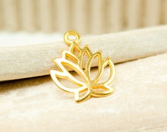 1x Lotus Pendant gold plated 19 mm #4714