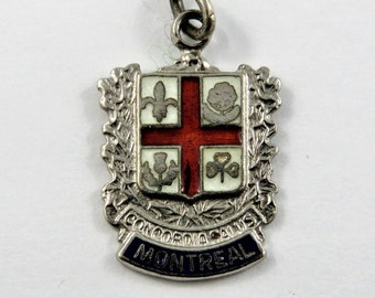 Enameled Montreal Travel Shield with Coat of Arms Sterling Silver Charm of Pendant.