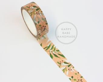 Peach Ivy Washi, Peach Floral Washi, 15mm x 7m, 7.6yds, Peach Washi Tape, Decorative Tape, Planner Tape, Masking Tape, Floral Washi Tape