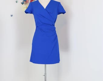 1990s Designer Dress - Joseph Ribkoff - Faux Wrap - Bright Blue - Short Sleeve - Gathered Waist - Body Con - V-neck - Size XS Small