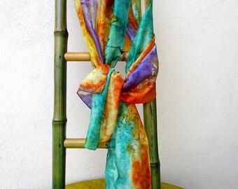 """Etole en soie habotaï peinte à la main, hand painted silk scarf, St Valentin pour elle, multicolore, from France,  """"Andalousie"""""""