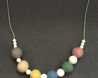 Necklace In Pale Spring Colours, Pink, Baby Yellow, Light Blue, Light Green, Off White, Light Grey Felt Beads Inter-Spaced With White Beads
