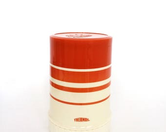1970's Striped Orange Thermos by King Seeley Holds 10 Ounces