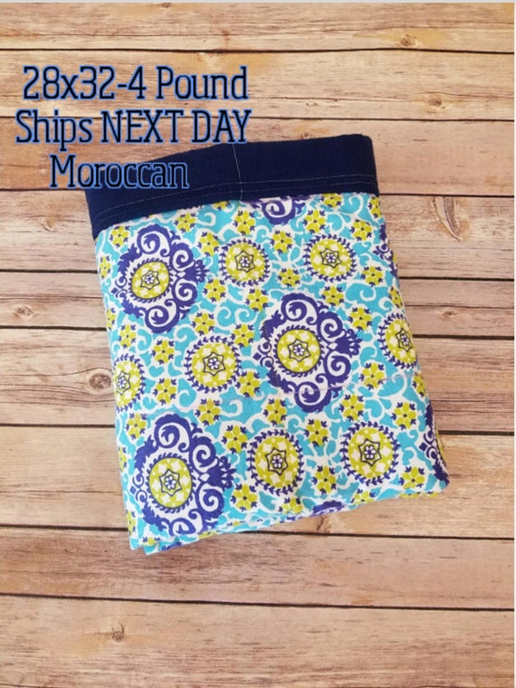Moroccan, Damask, 4 pound, WEIGHTED BLANKET, Ready To Ship, 4 pounds, 28x32 for Autism, Sensory, ADHD, Calming, Anxiety,