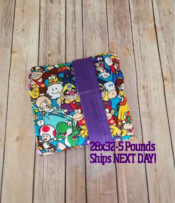 Video Game, 5 Pound, WEIGHTED BLANKET, Ready To Ship, 5 pounds, 28x32, for Autism, Sensory, ADHD, Calming, Anxiety,