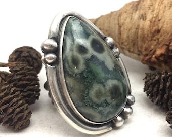 Ocean Jasper Ring, Fits like Size 7 1/2, Sterling Silver, Artisan, Green, Greenery, Rustic, Boho, Gypsy, Deep Jewels