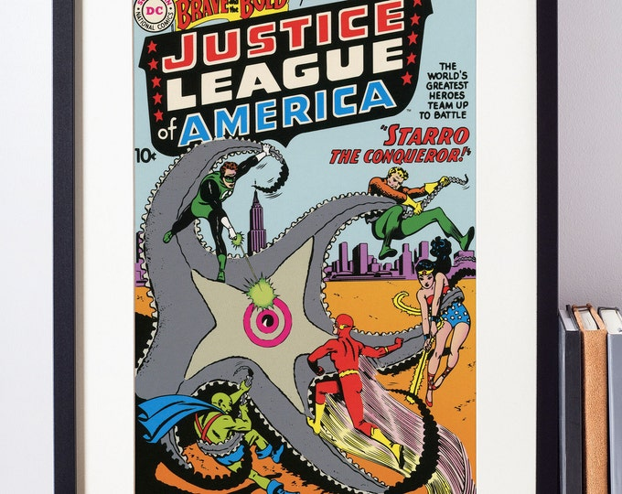The Justice League Wall Art /  Vintage Comic Book Cover /  Superhero Decor / Geeky Baby Gift / Nerdy Art / Superman / Batman / Wonder Woman