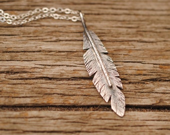 Thick Sterling Silver Feather