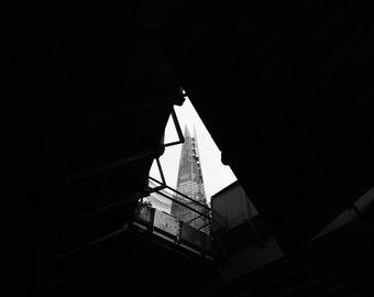 London Print, B And W Print, London Wall Print, The Shard, England, Minimalist Architecture, Minimalist Print, Black And White Architecture