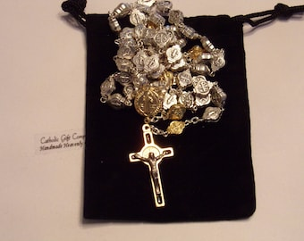 St Benedict Medal Rosary in two tones , Metal Rosary