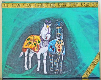 Original painting, Mixed media art, Abstract, Wall hanging, Animal, Horse, home décor, Green color