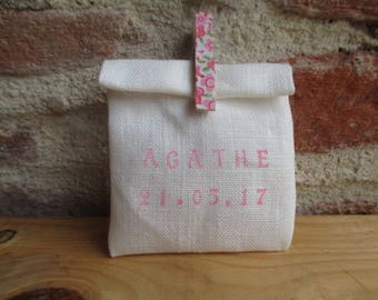 Sweets in ivory linen, box, sachet pouch, pouch with clothespin liberty pink