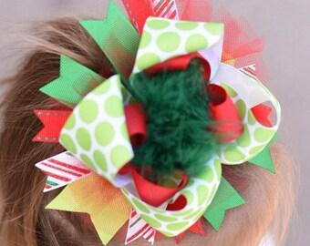 Christmas bow, Christmas hair bow, boutique bow, Christmas headband, Red and green hair bow, Layered hair bow, Newborn hair bow, Baby bow