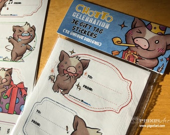 Cute Piggy Gift Labels Any Occasion Pig Sticker Set Chotto Celebration!