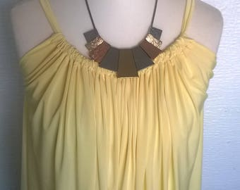 Tye back summer dress top in pastel yellow