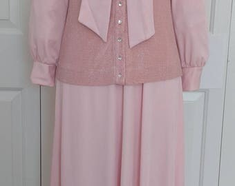Vintage 70s Ayres Unlimited Soft Pink Long Sleeve Maxi Dress