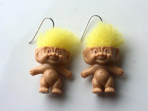 Quirky Vintage LITTLE TROLLS Yellow Hair Earrings