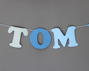 Garland name paper coated cotton - 3 letters + 2 stars