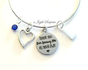 Gift for Foster Mom Guardian parent Jewelry Charm Bracelet Bangle Silver Thank you for loving me as your own Initial Birthstone Present us