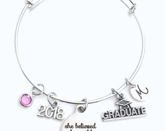 Graduation Gift for Teenage Girl Bracelet, She believed she could so she did 2018 Student Grad Silver Bangle University Jewelry High School
