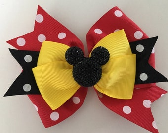 Minnie Mouse Hair Bow Mickey Mouse Bow Disney Minnie Bow Disney Mickey Bow Red Polka Dot Mninnie Bow with Glittery Minnie Disney Hair Bow