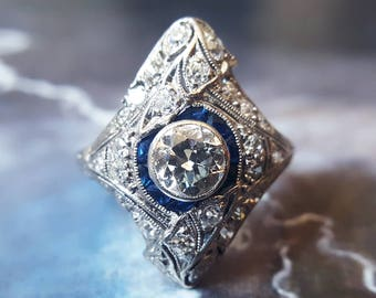 Diamond Engagement Ring | Antique Edwardian Diamond Ring 1910s 1.89 CTW Diamond Engagement Ring with Sapphire Accents in Platinum Size 7 1/2