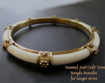 Bangle Bracelet * Enamel And Gold Tone * For Larger Wrist