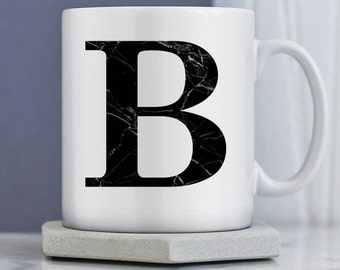 Marble Mug   Initial Mug   Gift for Her  Marble Gift   Birthday Gift   Marble Trend   Custom Mug   Personalised Mug   Black Marble Initial
