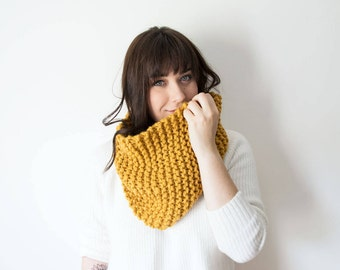 Knit Scarf Chunky Infinity Yellow Cowl in *Mustard* - The 'Sokoke' Chunky Knitted Circle Cowl