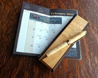 Quilted Maple and Rosewood Pen and Box Set