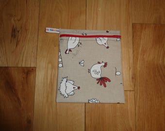 Snack Bag - Bikini Bag - Lunch Bag  - Zero Waste Medium Poppins Waterproof Lined Zip Pouch - Sandwich bag - Eco - Linen Look chicken hen