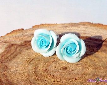 Light blue rose Earrings handmade polymer clay Floral jewelry Stud earrings Blue rose Gift for sister Earrings studs roses Jewelry flowers