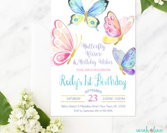 Butterfly Invitation, Butterfly Birthday, Butterfly Party, Birthday Invitation, Butterfly Invite, First Birthday, Printable, Butterflies