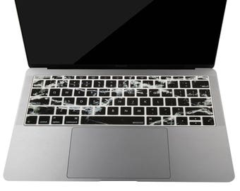 Keyboard Cover for MacBook Pro 13 Inch 2017,  2016 Release No Touch Bar & New MacBook 12 Inch Protective Skin, Black Marbel