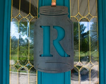 Monogram Mason Jar, Door Hanger,