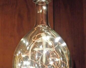 Dusse Cognac Bottle / Fairy Lights in Bottle / Man Cave Light / Liqour Bottle Light / Glass Bottle Lamp / Alcohol Bottle Light / Cross